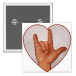ASL I LOVE YOU, HEART SHAPED PINS