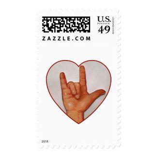 ASL I LOVE YOU, HEART SHAPED POSTAGE