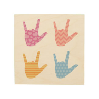 """ASL """"I Love You"""" in Sign Language Colors Patterns"""