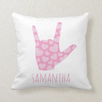ASL I Love You Kids' Room Girls Pink Hearts & Name Throw Pillow