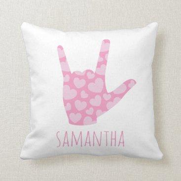 jasmineandsunlight ASL I Love You Kids' Room Girls Pink Hearts & Name Throw Pillow
