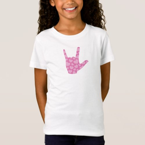 ASL I Love You Pink Hearts Girls Kids T_Shirt