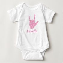 ASL I Love You Pink Hearts Sign Language Girl Name Baby Bodysuit