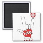 ASL I Love YOU Sign LAB (LABORATORY) Refrigerator Magnets