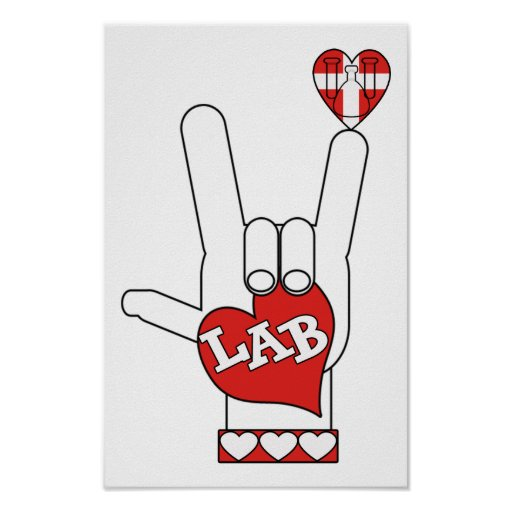 ASL I Love YOU Sign LAB (LABORATORY) Poster