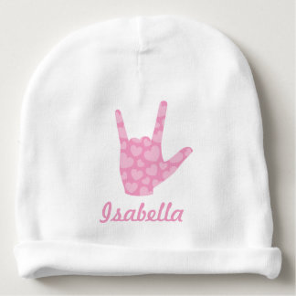 ASL I Love You Sign Language Girl Name Baby Beanie