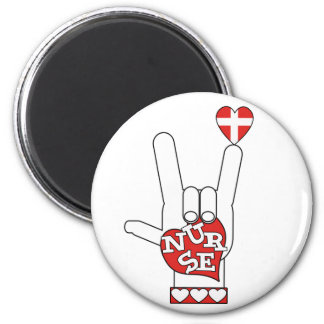 ASL I Love YOU Sign Language - HAND HEART NURSE 2 Inch Round Magnet