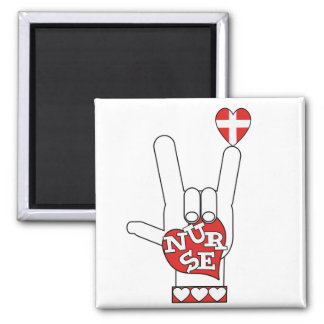 ASL I Love YOU Sign Language - HAND HEART NURSE 2 Inch Square Magnet