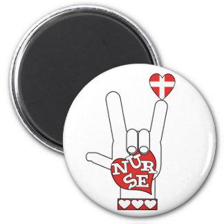ASL I Love YOU Sign Language - HAND HEART NURSE Magnet