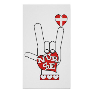 ASL I Love YOU Sign Language - HAND HEART NURSE Poster