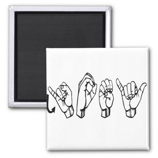 ASL JOEY FINGERSPELLED AMERICAN SIGN LANGUAGE 2 INCH SQUARE MAGNET