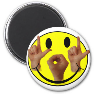 ASL LOL SMILEY FACE 2 INCH ROUND MAGNET