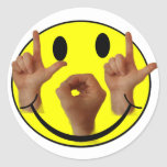 ASL LOL SMILEY FACE CLASSIC ROUND STICKER