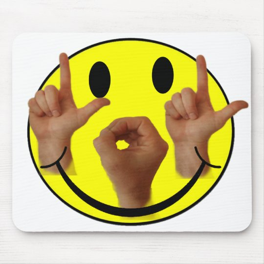 ASL LOL SMILEY FACE MOUSE PAD