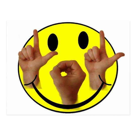 ASL LOL SMILEY FACE POSTCARD