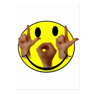 ASL LOL SMILEY FACE POST CARD