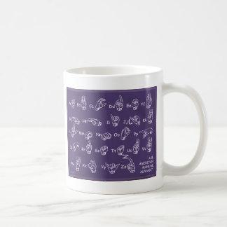 ASL Manual Alphabet Purple Coffee Mug