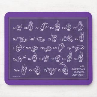 ASL Manual Alphabet Purple Mouse Pad