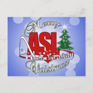 asl merry christmas american sign language holiday postcard - Merry Christmas In Sign Language