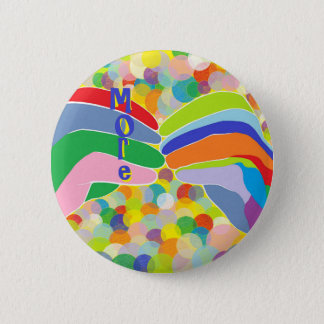 """ASL """"MORE"""" on a Bright Bubble Background Pinback Button"""