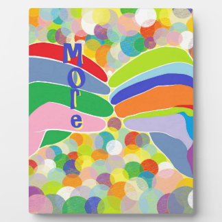 """ASL """"MORE"""" on a Bright Bubble Background Plaque"""