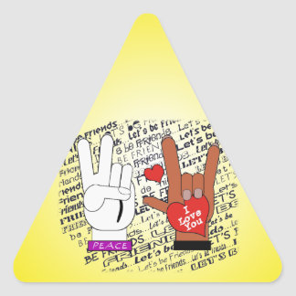 ASL PEACE LOVE LET'S BE FRIENDS! STICKER