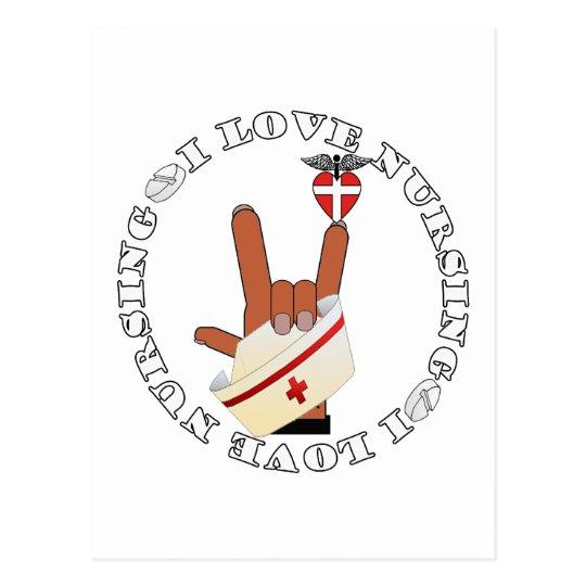 ASL SIGN LANGUAGE I LOVE NURSING HOLD CAP POSTCARD