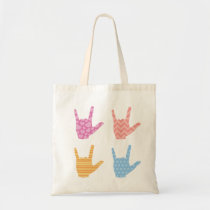 ASL Sign Language I Love You in Bright Patterns Tote Bag