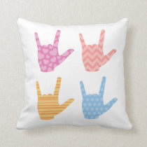 ASL Sign Language I Love You Patterns Pillow