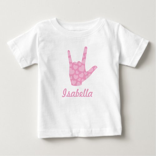 ASL Sign Language I Love You Pink Hearts Girl Name Baby T_Shirt