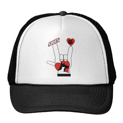 ASL SIGN LANGUAGE - I LOVE YOU RESCUE ADOPT DOGS TRUCKER HAT