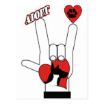 ASL SIGN LANGUAGE - I LOVE YOU RESCUE ADOPT DOGS POSTCARD