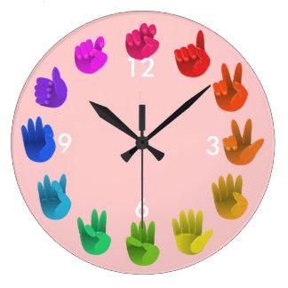ASL Sign language rainbow color wheel light Large Clock