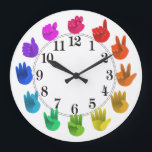 "ASL Sign language rainbow color wheel light Large Clock<br><div class=""desc"">Artist&#39;s color wheel -light  For a very special person!</div>"