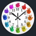 "ASL Sign language rainbow color wheel light Large Clock<br><div class=""desc"">Artist&#39;s color wheel -light  For a very special person!</div>"