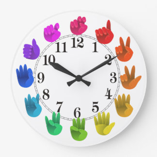 ASL Sign language rainbow color wheel light Large Clock