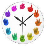 ASL Sign language rainbow color wheel light Wallclocks