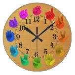 ASL Sign language rainbow color wheel wood Wall Clocks
