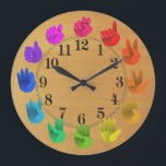 "ASL Sign language rainbow color wheel wood Large Clock<br><div class=""desc"">Artist&#39;s color wheel -light  For a very special person!</div>"