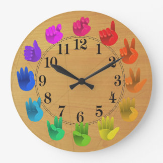 ASL Sign language rainbow color wheel wood Large Clock