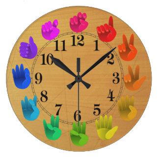 ASL Sign language rainbow color wheel wood Wallclock