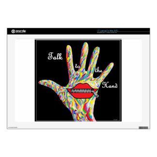 """ASL TALK TO THE HAND! DECALS FOR 17"""" LAPTOPS"""