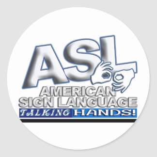 ASL TALKING HANDS - AMERICAN SIGN LANGUAGE CLASSIC ROUND STICKER
