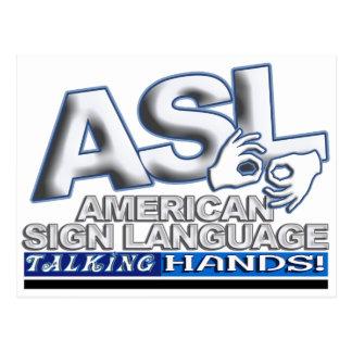 ASL TALKING HANDS - AMERICAN SIGN LANGUAGE POSTCARD
