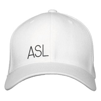 ASL White Cap!! Embroidered Baseball Hat