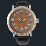 """ASL Woodgrain v2 Watch<br><div class=""""desc"""">An American Sign Language watch,  with faux metallic hands on a faux wood grain backing.</div>"""