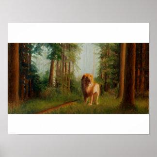 Aslan en las grandes maderas póster