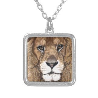 Aslan the Lion Original Pastel Art Square Pendant Necklace