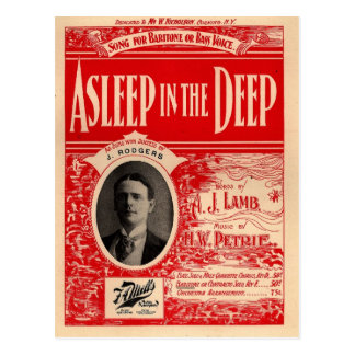 Asleep in the Deep - Great Nautical Song Postcard
