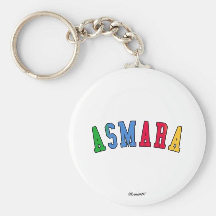 Asmara in Eritrea National Flag Colors Keychain